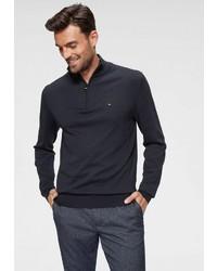 dunkelblauer Pullover mit einem Reißverschluss am Kragen von Tommy Hilfiger