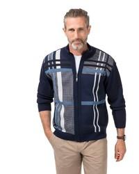 dunkelblauer Pullover mit einem Reißverschluß mit Schottenmuster von MARCO DONATI