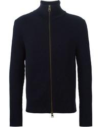 dunkelblauer Pullover mit einem Reißverschluß von AMI Alexandre Mattiussi