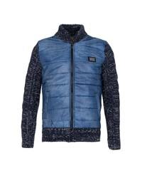 dunkelblauer Pullover mit einem Reißverschluß von Cipo & Baxx
