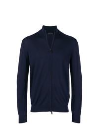 dunkelblauer Pullover mit einem Reißverschluß von Emporio Armani