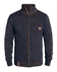 dunkelblauer Pullover mit einem Reißverschluß von INDICODE