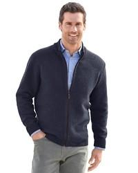 dunkelblauer Pullover mit einem Reißverschluß von MARCO DONATI