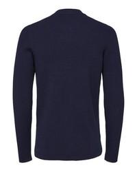 dunkelblauer Pullover mit einem Reißverschluß von Selected Homme