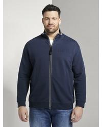 dunkelblauer Pullover mit einem Reißverschluß von TOM TAILOR Men Plus