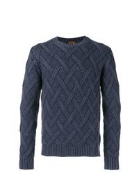 dunkelblauer Pullover mit einem Rundhalsausschnitt mit Argyle-Muster von Tod's