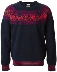 dunkelblauer Pullover mit einem Rundhalsausschnitt mit Fair Isle-Muster