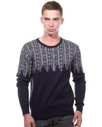 dunkelblauer Pullover mit einem Rundhalsausschnitt mit Norwegermuster von Oboy Streetwear