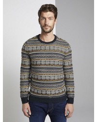 dunkelblauer Pullover mit einem Rundhalsausschnitt mit Norwegermuster von Tom Tailor