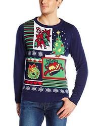 dunkelblauer Pullover mit einem Rundhalsausschnitt mit Weihnachten Muster