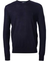 dunkelblauer Pullover mit einem Rundhalsausschnitt