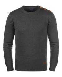 dunkelblauer Pullover mit einem Rundhalsausschnitt von BLEND