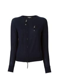 dunkelblauer Pullover mit einem Rundhalsausschnitt von Dsquared2