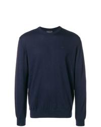 dunkelblauer Pullover mit einem Rundhalsausschnitt von Emporio Armani