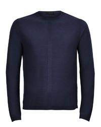 dunkelblauer Pullover mit einem Rundhalsausschnitt von Falke