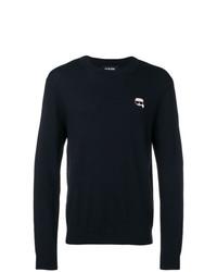 dunkelblauer Pullover mit einem Rundhalsausschnitt von Karl Lagerfeld