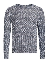dunkelblauer Pullover mit einem Rundhalsausschnitt von khujo