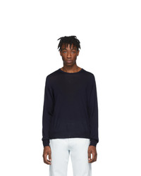 dunkelblauer Pullover mit einem Rundhalsausschnitt von Maison Margiela