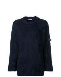 dunkelblauer Pullover mit einem Rundhalsausschnitt von Miu Miu