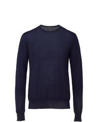 dunkelblauer Pullover mit einem Rundhalsausschnitt von Prada