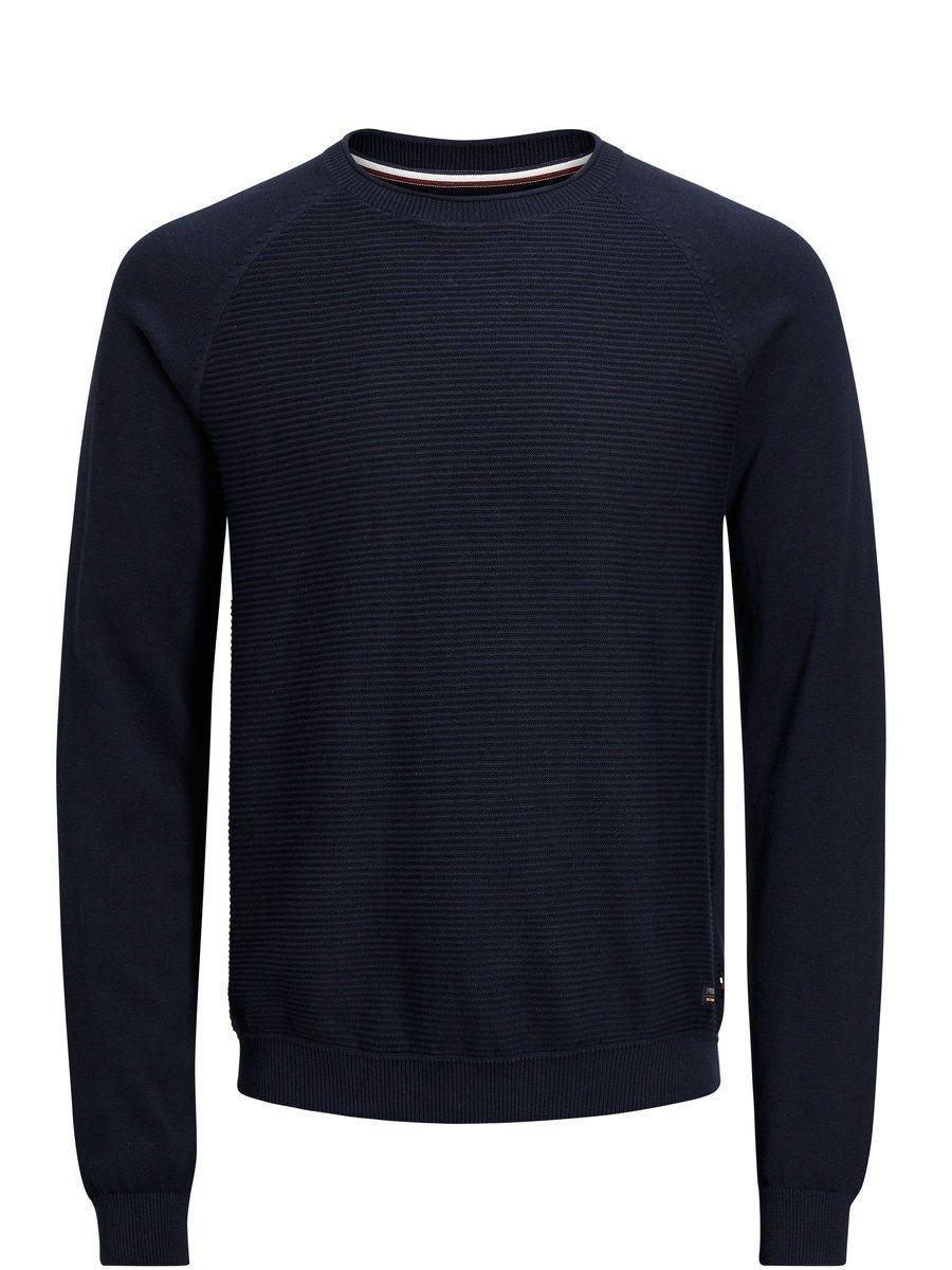 dunkelblauer Pullover mit einem Rundhalsausschnitt von Produkt