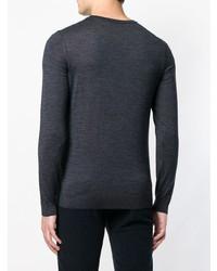 dunkelblauer Pullover mit einem Rundhalsausschnitt von BOSS HUGO BOSS