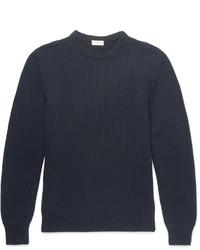 dunkelblauer Pullover mit einem Rundhalsausschnitt von Saint Laurent