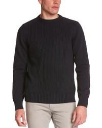 dunkelblauer Pullover mit einem Rundhalsausschnitt von Schott