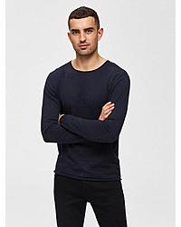 dunkelblauer Pullover mit einem Rundhalsausschnitt von Selected Homme