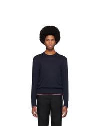 dunkelblauer Pullover mit einem Rundhalsausschnitt von Thom Browne