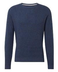 dunkelblauer Pullover mit einem Rundhalsausschnitt von Tom Tailor