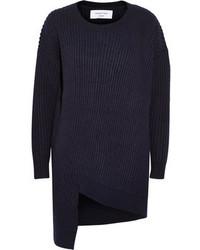 dunkelblauer Pullover mit einem Rundhalsausschnitt von Topshop