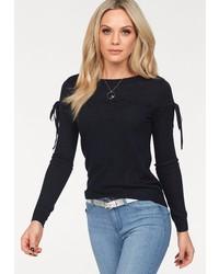 dunkelblauer Pullover mit einem Rundhalsausschnitt von Vero Moda