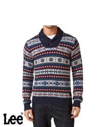 dunkelblauer Pullover mit einem Schalkragen mit Fair Isle-Muster
