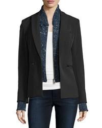 dunkelblauer Pullover mit einem Schalkragen