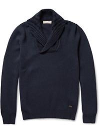 dunkelblauer Pullover mit einem Schalkragen von Burberry