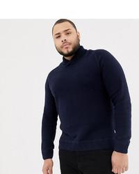 dunkelblauer Pullover mit einem Schalkragen von Jack & Jones
