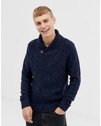 dunkelblauer Pullover mit einem Schalkragen von Pier One