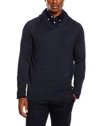 dunkelblauer Pullover mit einem Schalkragen von Selected Homme