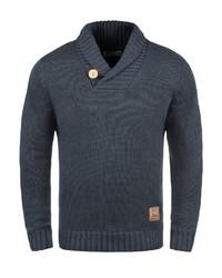 dunkelblauer Pullover mit einem Schalkragen von Solid