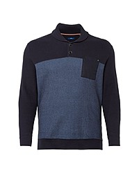 dunkelblauer Pullover mit einem Schalkragen von Tom Tailor