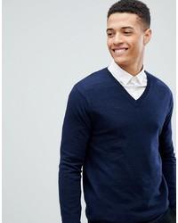 dunkelblauer Pullover mit einem V-Ausschnitt von ASOS DESIGN