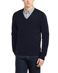 dunkelblauer Pullover mit einem V-Ausschnitt von Ben Sherman