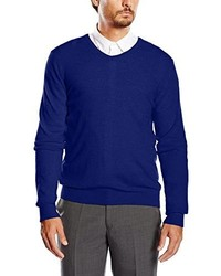 dunkelblauer Pullover mit einem V-Ausschnitt von Benetton