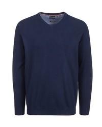 dunkelblauer Pullover mit einem V-Ausschnitt von Bernd Berger