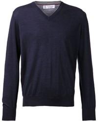 dunkelblauer Pullover mit einem V-Ausschnitt von Brunello Cucinelli