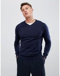 dunkelblauer Pullover mit einem V-Ausschnitt von Burton Menswear