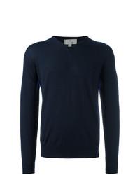 dunkelblauer Pullover mit einem V-Ausschnitt von Canali