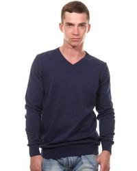 dunkelblauer Pullover mit einem V-Ausschnitt von CAZADOR