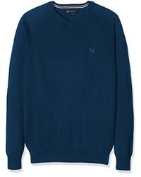 dunkelblauer Pullover mit einem V-Ausschnitt von Crew Clothing